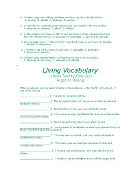 Sample LIVING VOCABULARY LESSON
