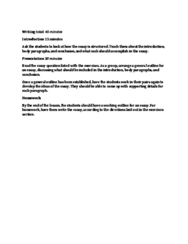 Sample Lesson Plan for B1 Reading and Writing Booklet Material