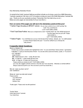 Sample Letter to Parents for yearbook ads/specialty pages