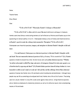 Sample Literary Analysis Essay (High School - Hamlet)