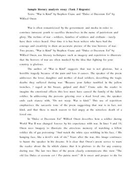 Sample Literary Essay (War Poetry)