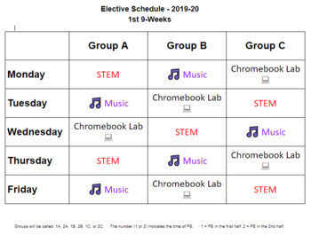 Sample Master Schedule for Elementary School