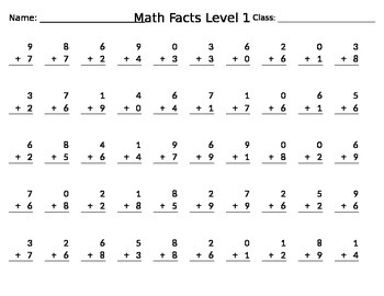 Sample Math Facts Test (Addition)