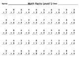 Sample Math Facts Test (Addition)