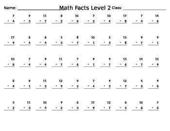 Sample Math Facts Test (Subtraction)