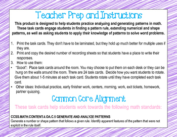 Sample Math Pattern Task Cards CCSS 4.OA.C.5