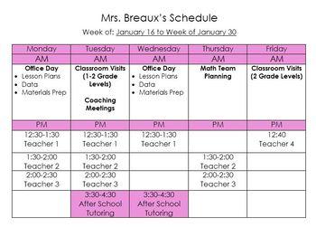Sample Mathematics Coach Weekly Schedule
