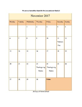 Sample Month of November in The Ultimate Kindergarten Experience