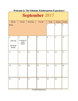Sample Month of September in The Ultimate Kindergarten Experience Part 1