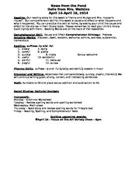 Sample Newsletter for REading Street Stories 1st grade