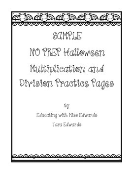 Sample No Prep Halloween Multiplication and Division Practice