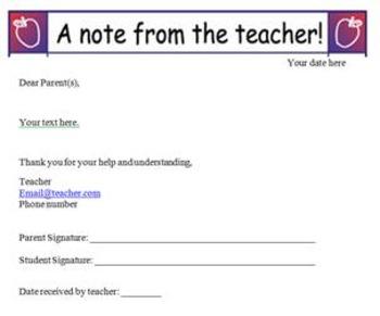 Sample Note from Teacher
