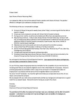 Sample Offer Letter and Job Description for a Director/Principal