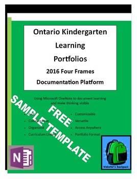 Sample Ontario Kindergarten Four Frames Learning PortfolioTemplate