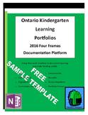 Sample Ontario Kindergarten Four Frames Learning Portfolio