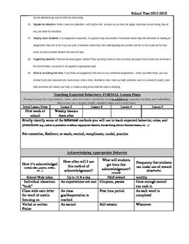 Sample PBIS Matrix