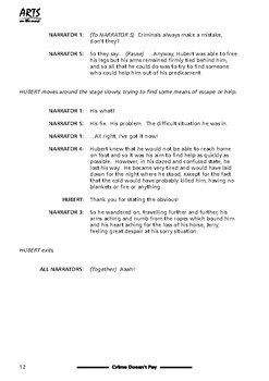 Drama play script sample pages: Crime Doesn't Pay (Christmas, short story)