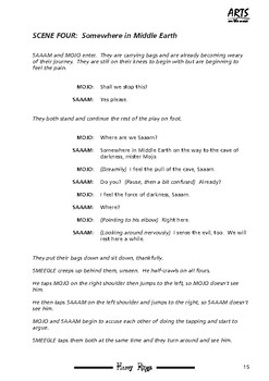 Play script sample pages: Harry Rings, Lord of the Potters (fantasy, comedy)