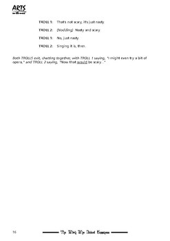 Drama play script, sample pages: The Witch Who Nicked Happiness (fairy tale)