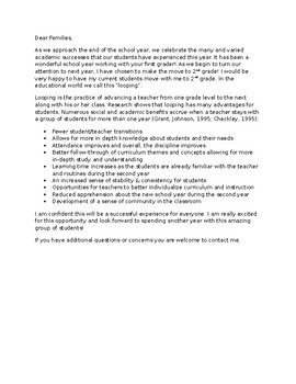 Sample Parent Letter About Looping