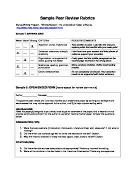Writing - Peer Review Rubrics