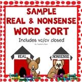 FREE Sample Real and Nonsense Word Sort - Dog-themed!