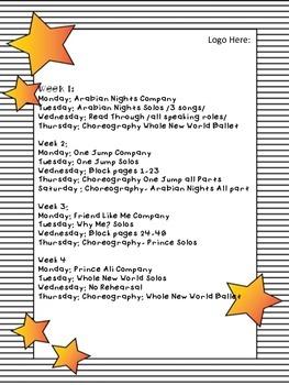 Sample Rehearsal Schedule