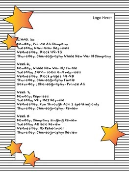 Sample Rehearsal Schedule