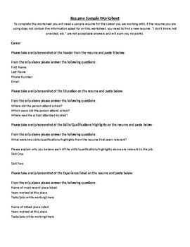 Resume Worksheet | Teachers Pay Teachers