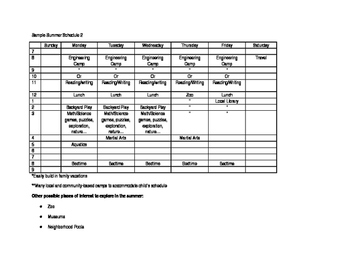 Sample SUMMER schedule for kids!