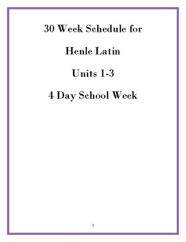 Sample Schedule for Henle Latin Book 1