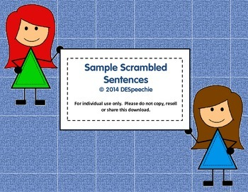 Sample Scrambled Sentences - FREEBIE!