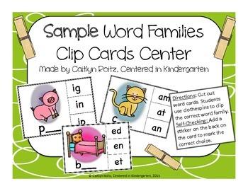 Sample Short Vowel Families Clip Cards FREEBIE!