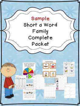 Sample Short a Word Family Centers Bundle: CVC Bingo, Spinner, Sorting, & MORE!