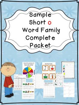 Sample Short o Word Family Centers Bundle: CVC Bingo, Spin