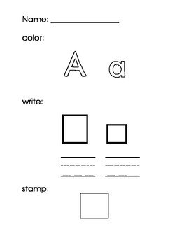 Sample Sight Word and Letter Activity