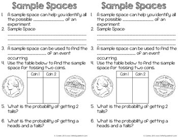 sample space worksheet kidz activities