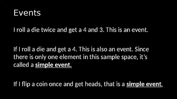 Sample Spaces and Events - PowerPoint Lesson (10.8)