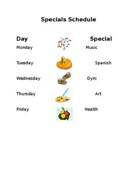 Sample Specials Schedule *editable
