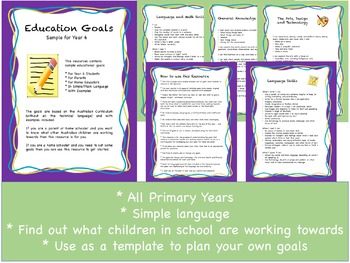 Sample Student Goals For the Australian Curriculum Bundle: Foundation to Year 6