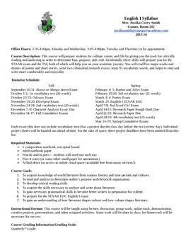 Sample Syllabus (9th grade English in Texas)