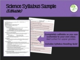 Sample Syllabus & Safety Acknowledgement Forms (Secondary