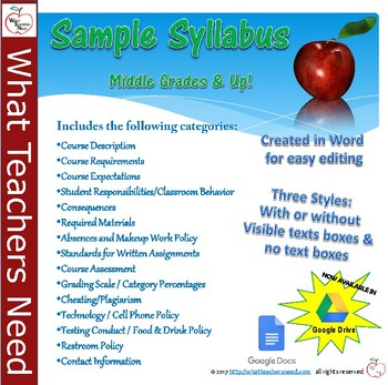 Sample Syllabus for Middle Grades and Up! Completely Customizable!