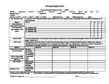 Sample Template Progress Note for Teachers or Therapists
