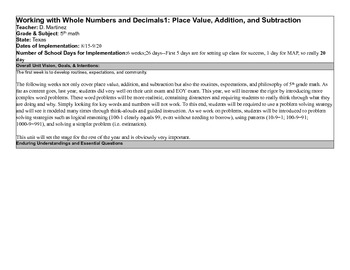 Sample Unit Plan on Whole numbers and Addition and Subtraction