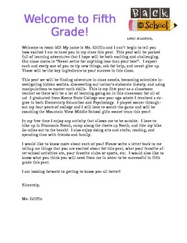 Sample Welcome Letter to Students for First Day of School