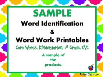 Sample Word Identification & Word Work (Gen Ed., Autism &