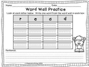 Sample Word Wall Practice