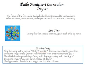 Montessori Daily Lesson Plan #1