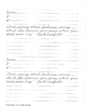 Sample Zaner-Bloser cursive practice pages with inspirational quotes (J)